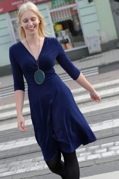 Koperta Dress with 3/4 Sleeves Dark Blue