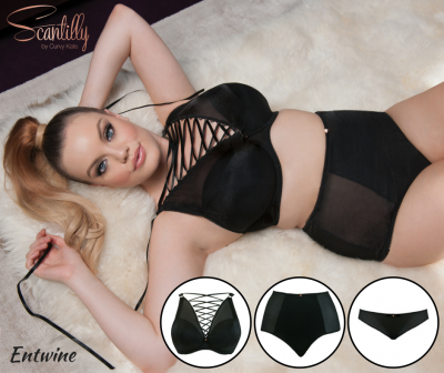 Scantilly by Curvy Kate Entwine Padded Plunge Bra Padded plunge bra with lacing 65-85 DD-HH ST3611-Black