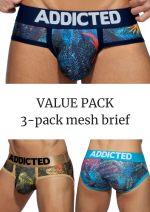 Mesh brief push up 3-pack tropical print