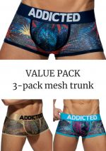 Mesh trunk push up 3-pack tropical print
