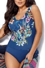 Anemone One-Piece Swimsuit Blue Floral