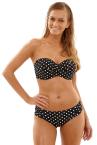 Anya Spot Bandeau Bikini Top Black White-thumb