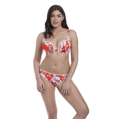 Freya Swim Wild Flower Moulded Bikini Top Flame Floral Underwired, moulded and seamless plunge bikini top 60-85, E-J AS5882-FLE