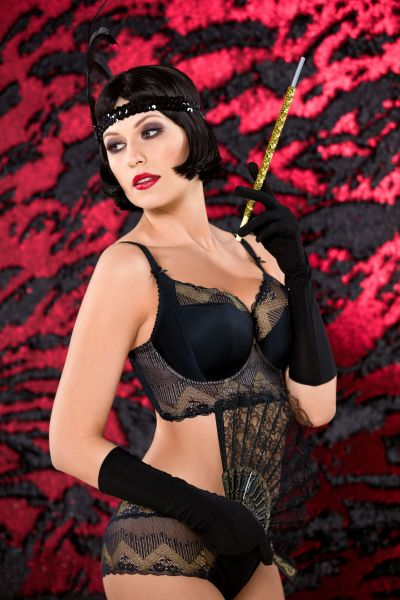 Gatsby Soft Side Support Longline Bra Black Gold