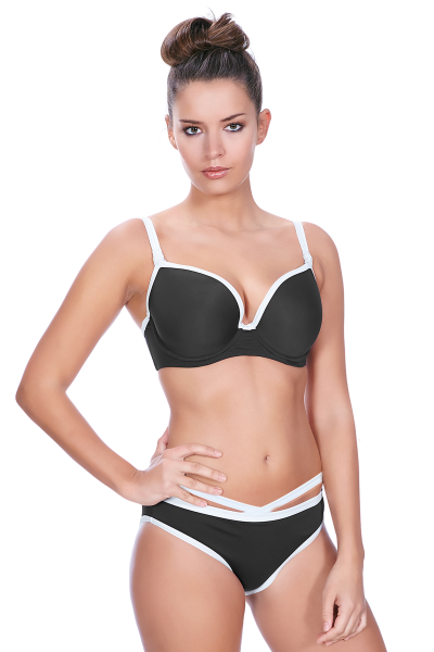Freya Swim Back to Black Moulded Bikini Top Black and White Underwired, moulded and seamless plunge bikini top 60-85, D-J AS3702-BLK