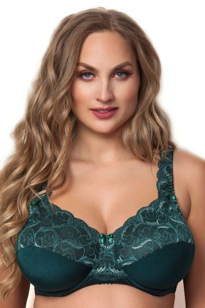 Plaisir Beate Full Cup Bra Pine Green Underwired, non padded, stretch lace full cup bra 80-105 D-H 619431-PIN
