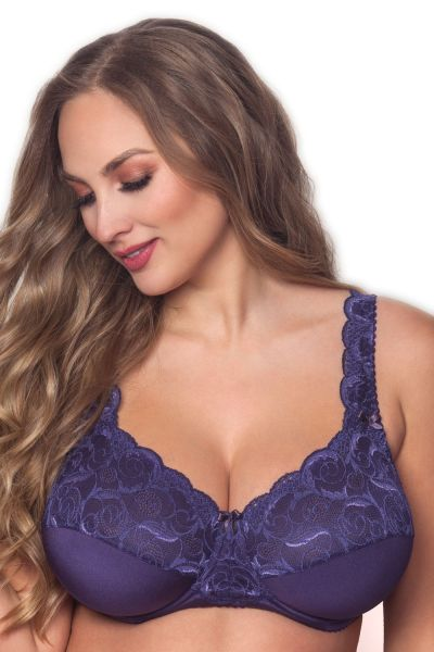 Plaisir Beate Full Cup Bra Purple Underwired, non padded, stretch lace full cup bra 80-105 D-H 619431-PUR