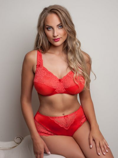 Plaisir Beate Full Cup Bra Hibiscus Underwired, non padded, stretch lace full cup bra 80-105 D-H 619431-HIB