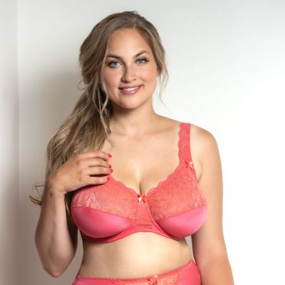Plaisir Beate Full Cup Bra Coral Underwired, non padded, stretch lace full cup bra 80-105 D-H 619431-COR