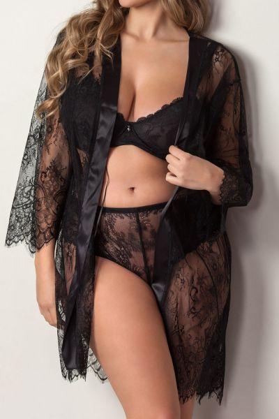 Plaisir Boudoir Lace Kimono Black  42/44 - 54/56 2056
