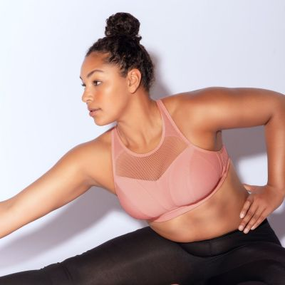 Parfait Lingerie Breeze Non-Padded Wirefree Sports Bra Pink Blush Nonpadded wirefree crop top look sports bra 70-90, D-G P5542-PIN