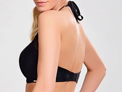 Ceylon High Neck Bandeau Bikini Black