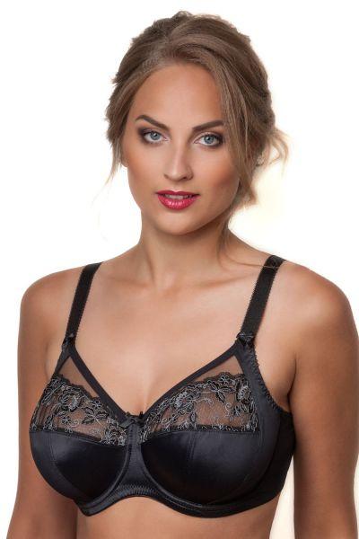 Plaisir Cille Soft Bra Black Underwired, non-padded soft cup bra 80-105 E-I 60023