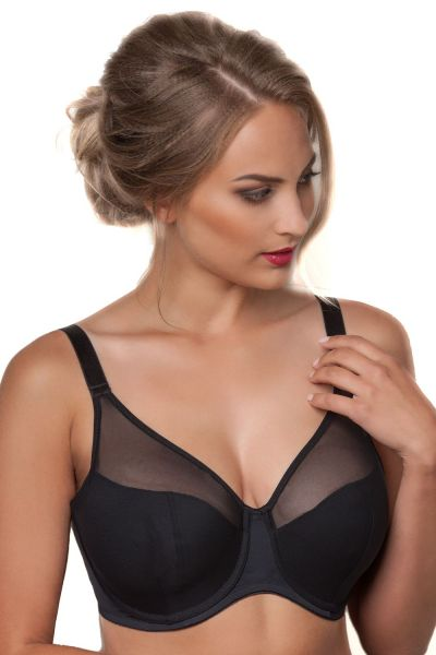 Plaisir Cloe Semi Soft Bra Black Underwired, semi-soft full cup bra 80-100 D-H 7030