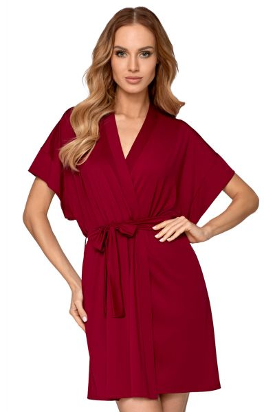 Babella Corina Dressing Gown Bordeaux Dressing gown with belt S/34-36 - 2XL/50-52