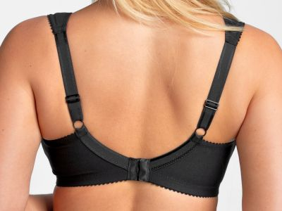 Miss Mary Cotton Infinity Wired Full Cup Bra Black Underwired, full cup bra with wide comfort straps. 80-110 D-G MM-2466