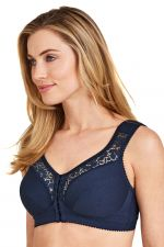 Cotton Lace Non-Wired Front Closure Bra Navy