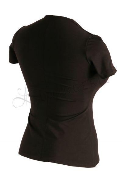 Urkye Dama Karo Short Sleeved Top Black Sleeveless tailored top with diamond shaped neckline 34-46 O/OO, OO/OOO BL-032-CZA