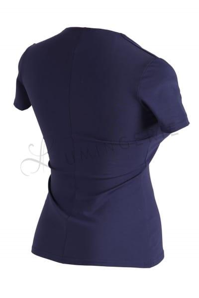 Urkye Dama Karo Short Sleeved Top Navy Blue Sleeveless tailored top with diamond shaped neckline 34-44 O/OO, OO/OOO BL-032-GRA2