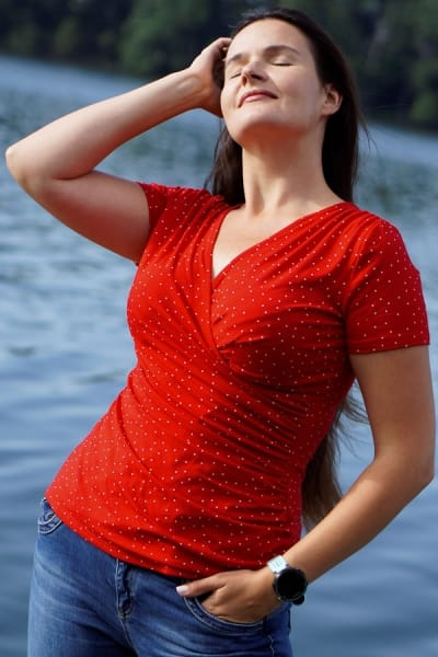 Kopertowka Short Sleeved Wrap Top Red Polka Dot