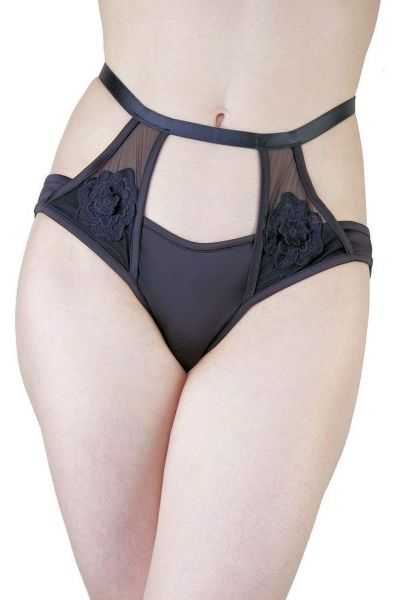 Effie Satin & Mesh Brief Black