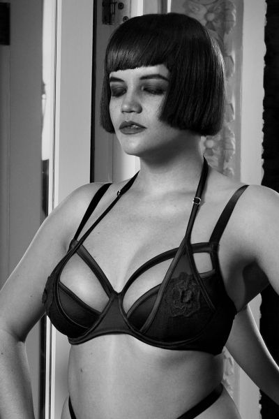 Effie Satin & Mesh Bra Black