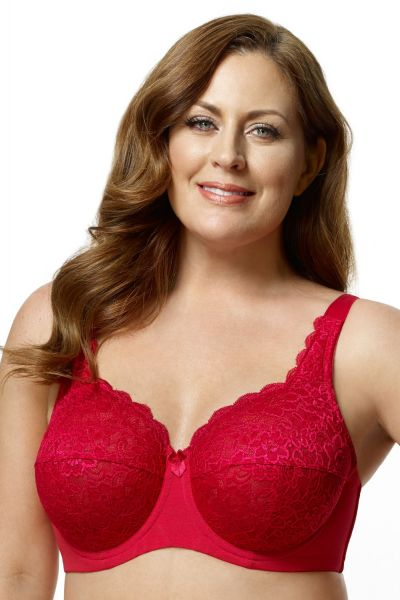 Lace Full Cup Bra Red