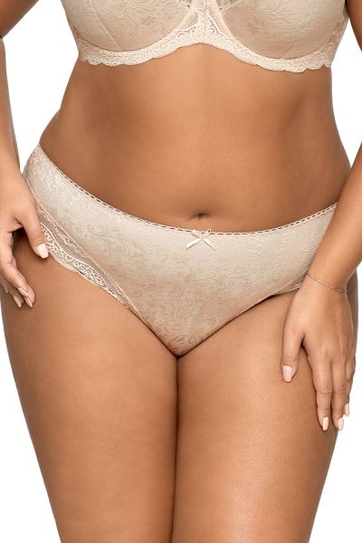 Ava Lingerie Ellice Briefs Beige Normal high brief with selvedge lace at leg openings S-3XL F-925