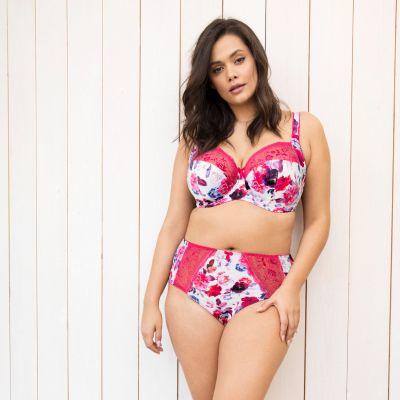 Elomi Morgan UW Banded Bra Pink Floral Underwired, non-padded banded bra in full cup 70-100, E-O EL4110-PIL
