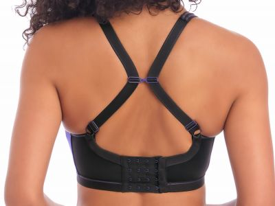 Freya Active Epic Crop Top Sports Bra Electric Black Underwired padded sports bra with convertible straps 65-90 D-K AA4004-ELB