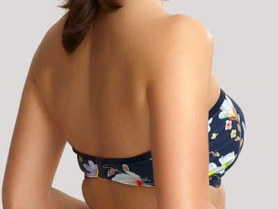 Panache Swimwear Florentine Bandeau Bikini Navy Floral Underwired, strapless padded bandeau bikini top 65-85 DD-G SW1053-NAV