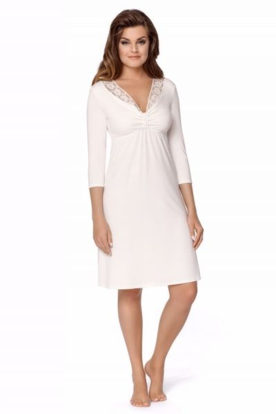 Babella Georginia Nightdress Pearl Long sleeve nightdress S/34-36 - 2XL/50-52