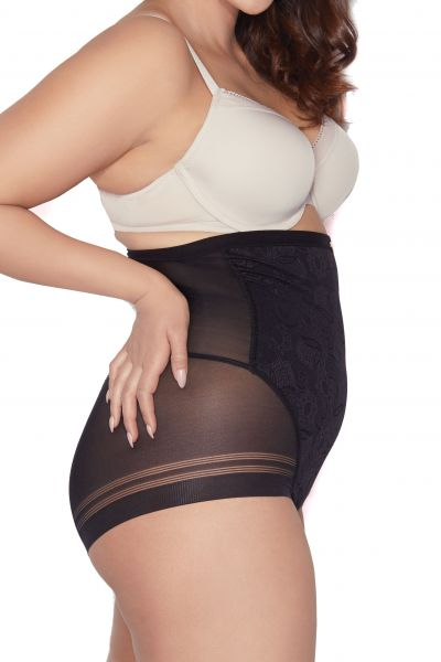 Glossy Hi Waist Brief Black