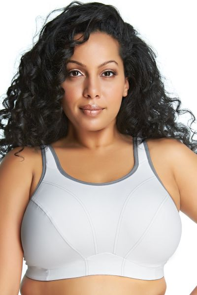 Goddess Goddess Sport Bra White Grey Wireless, non-padded sports bra 80-110 D-I GD6910-WHE