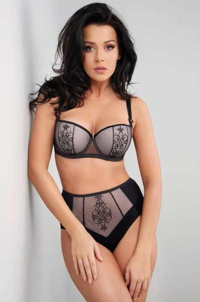 Aspen Padded Balcony Bra Black with Rose