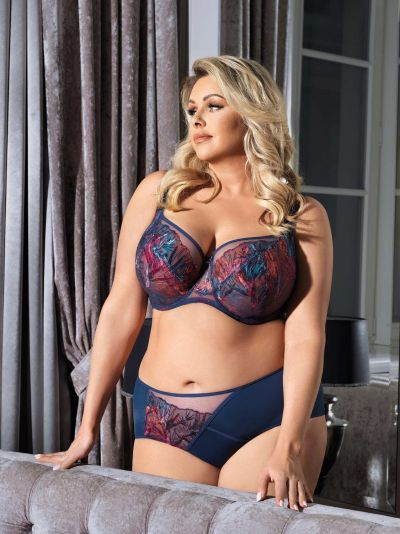 Gorsenia Malaga Soft Bra Deep Blue Underwired, non-padded bra with padded comfort straps 65-95, D-M K589
