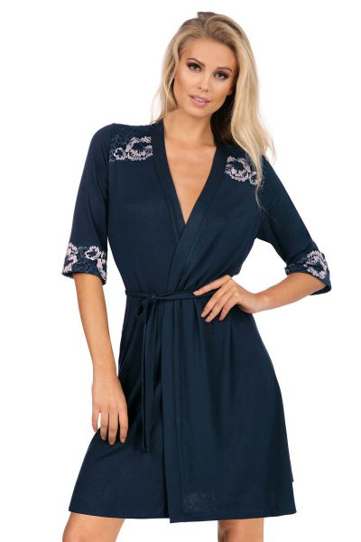 Hamana Helen Dressing Gown Navy  S-5XL