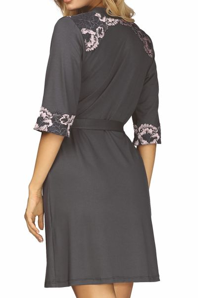 Hamana Helen Dressing Gown Grey-Pink  S-5XL