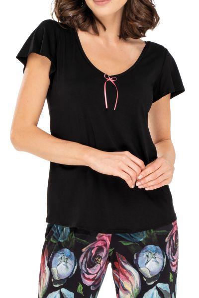 Babella Ingrid Pyjama Set Black Floral 2 piece pyjama set S/34-36 - 2XL/50-52