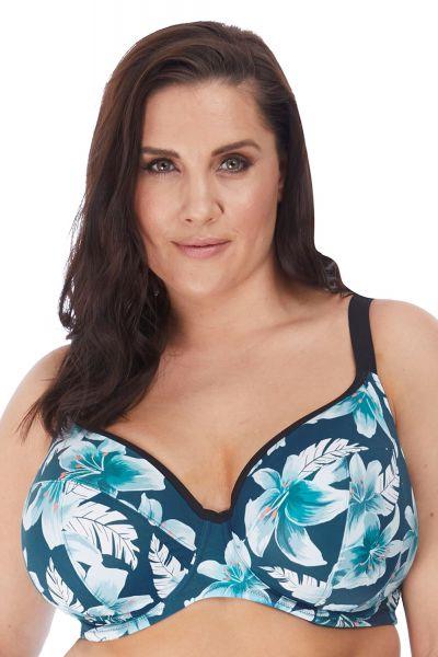 Elomi Island Lily Plunge Swim Bra Petrol Floral Underwired bikini bra 75-100, E-L ES7222-PEO