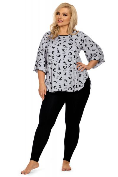 Hamana Kitty Pyjama Set with Top and Leggings Grey/Black  S-5XL