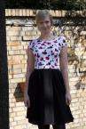 Koalicja Cap Sleeve Dress with Kitty Print Top-thumb