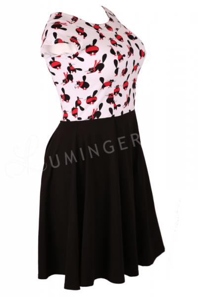 Koalicja Cap Sleeve Dress with Kitty Print Top