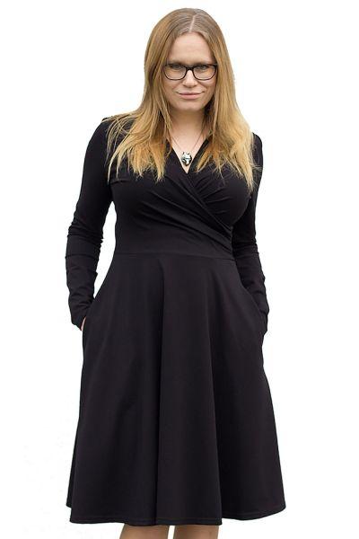 Urkye Koperta Dress with Full Sleeves Black Pocketed jersey dress with full length sleeves 36-50 O/OO, OO/OOO SU-033-CZA-2020