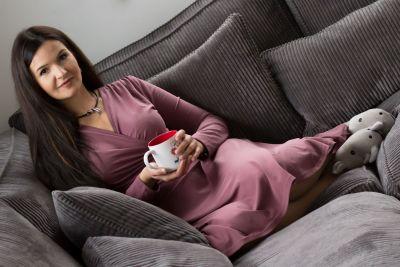 Urkye Koperta Dress with Full Sleeves Rose Brown Pocketed jersey dress with full length sleeves 36-50 O/OO, OO/OOO SU-033-FIO-2020