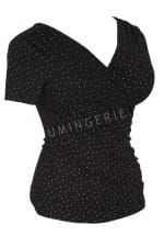 Kopertowka Short Sleeved Wrap Top Black Polka Dot