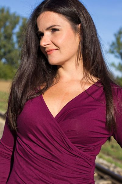 Kopertowka Long Sleeved Wrap Top Plum