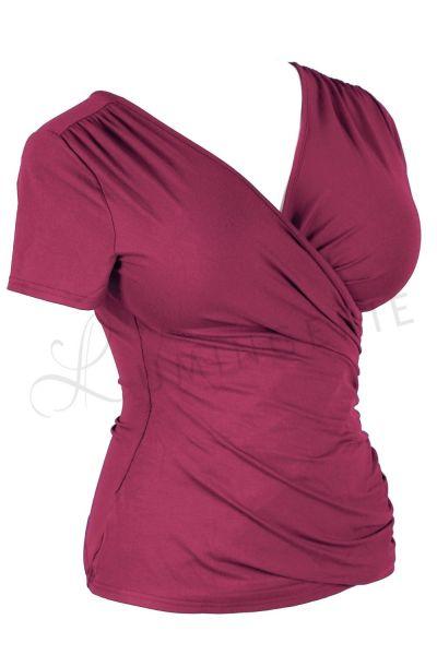 Urkye Kopertowka Short Sleeved Wrap Top Beetroot Red Shortsleeved low-cut v-neck top 36-50, O/OO, OO/OOO BL-038-FIO2-SS21