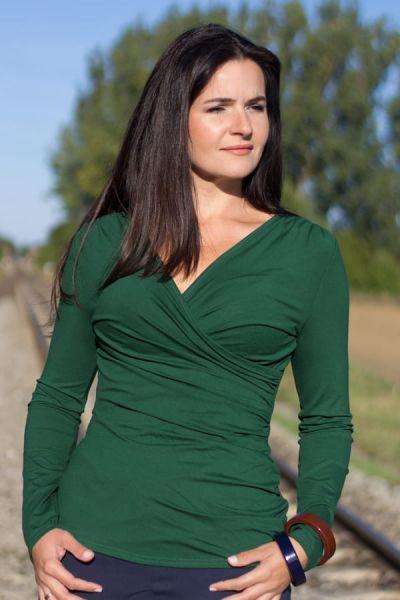 Kopertowka Long Sleeved Wrap Top Bottle Green