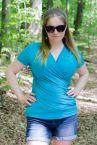 Urkye Kopertowka Short Sleeved Wrap Top Lagoon Blue-thumb Shortsleeved low-cut v-neck top 36-50, O/OO, OO/OOO BL-038-NIE-SS21